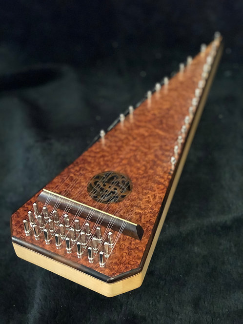 (#6504) 2 Octave Exotic Burl Bowed Psaltery