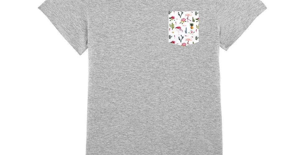 Fitted T-shirt - Flamant, Cactus & Ananas - Women