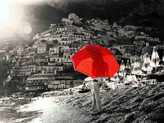 Positano - Girl with red umbrella