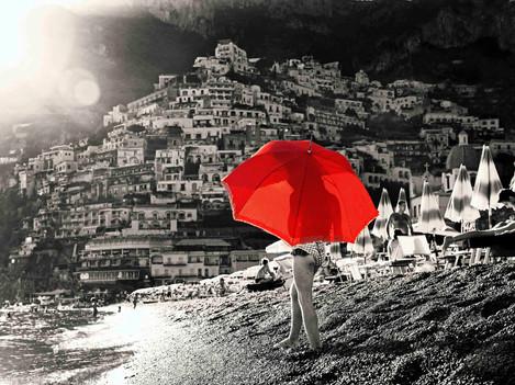 Positano - Girl with red umbrella