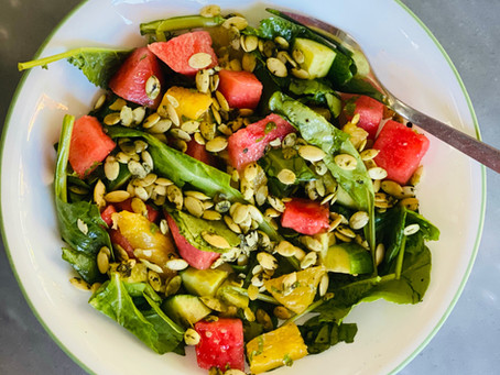 Watermelon, Cucumber & Mixed Greens Summer Salad