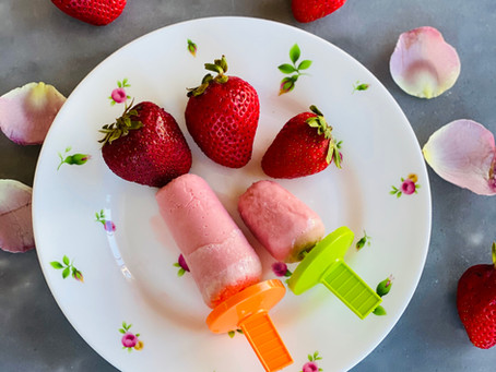 Strawberry- Rose Popsicles
