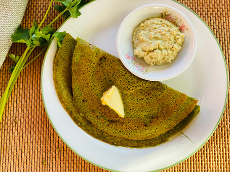 Pesarattu ~ Sprouted Moong Dosa ~Whole Mung Bean Crepe