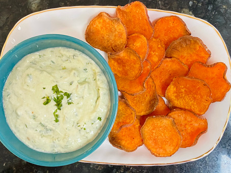 Baked Sweet Potato Chips With Creamy Avocado Yogurt Dip