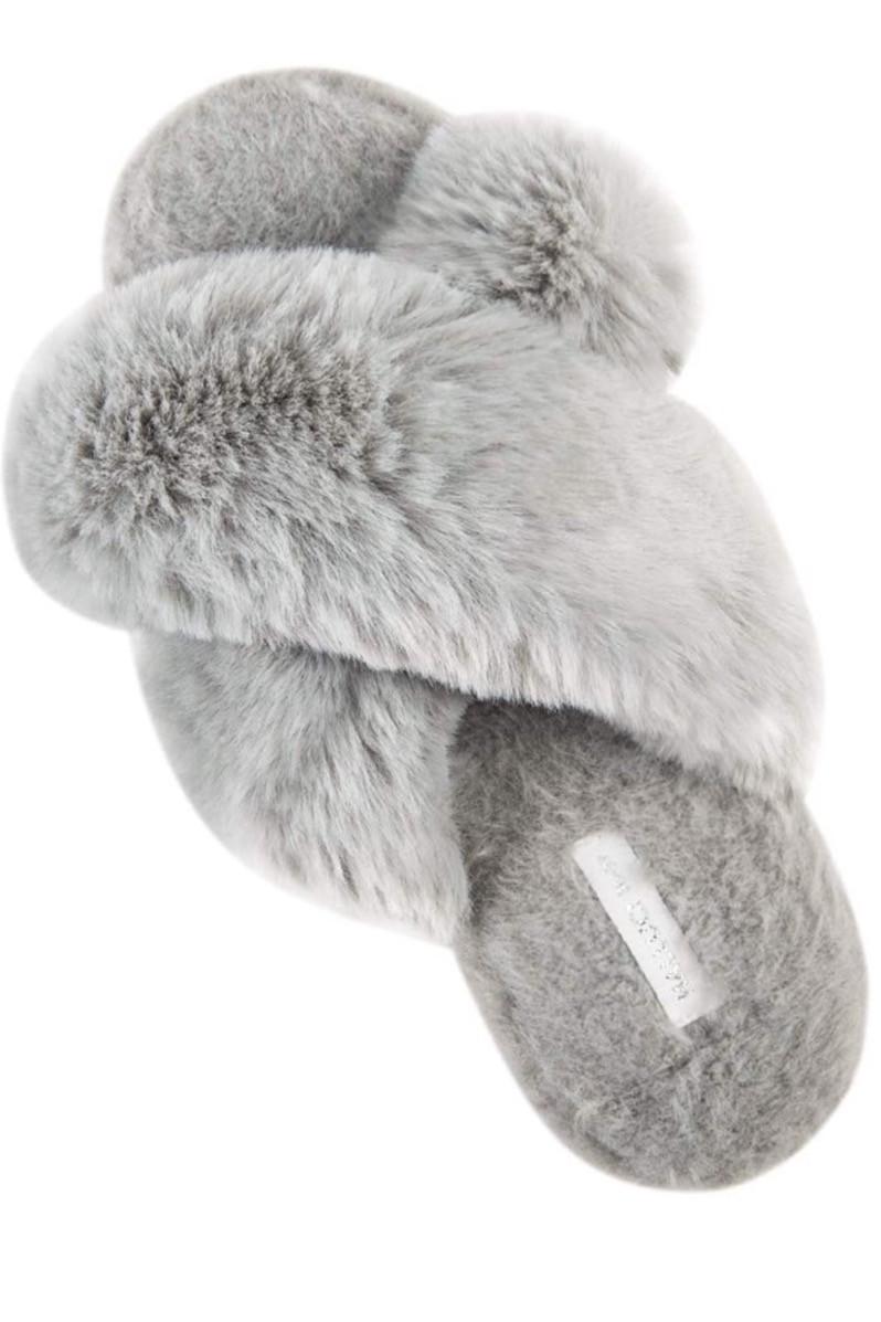 Fuzzy slip on slippers