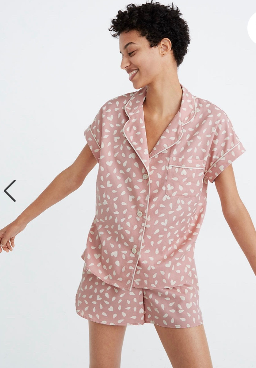 Pajama set with hearts
