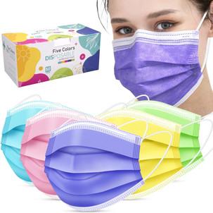 Disposable Face Masks 50-Pack Five Colors, $8.49 (Reg. $16.99)