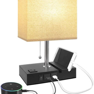 Table Lamp with 2 USB Ports & 1 A/C Outlet $23 (Reg. $42)