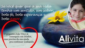 Alivita apoia ação para levantar recursos para o menino João Vitor no seu tratamento contra a leucem