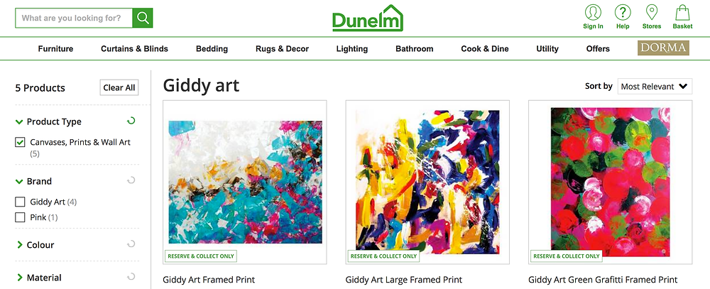Giddy Art on Dunelm Mill website
