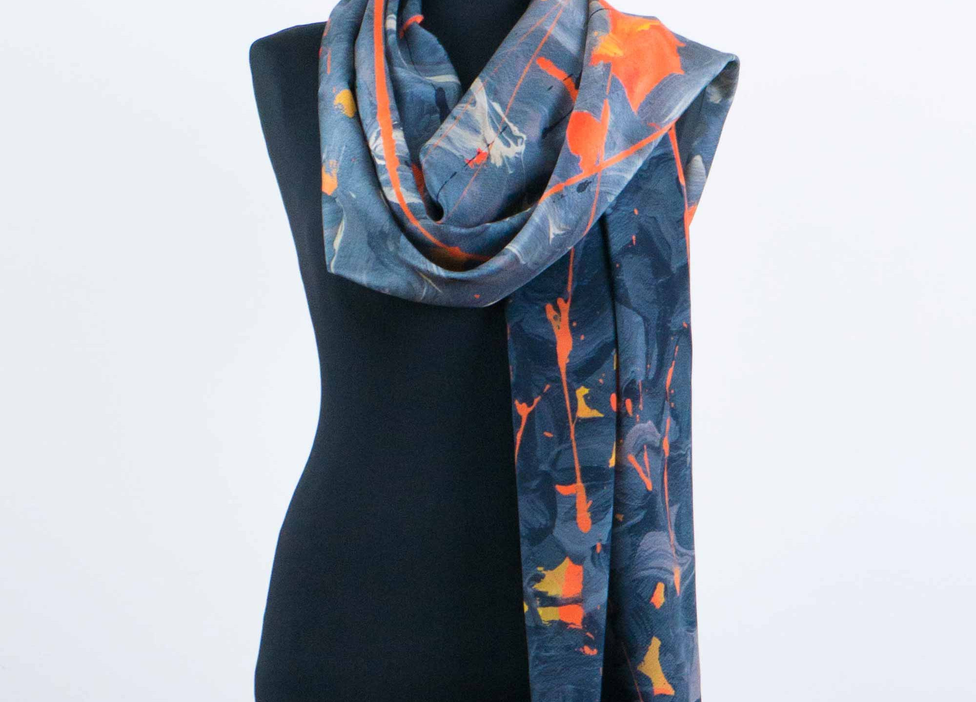 ORANGE ABSTRACT SILK SCARF