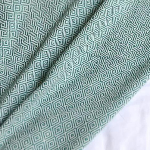 Green Woven throw with soft tassel