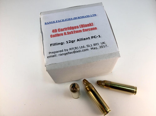 8.5mm Carcano blank ammunition. Boxes of 49 rounds