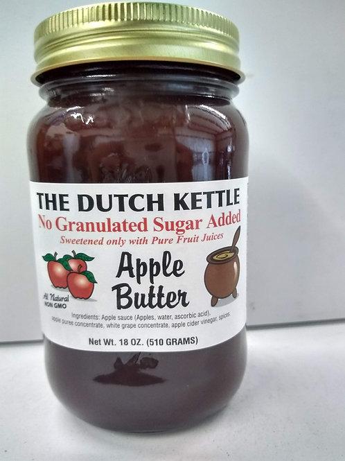 The Dutch Kettle Apple Butter - No Sugar Added,18oz