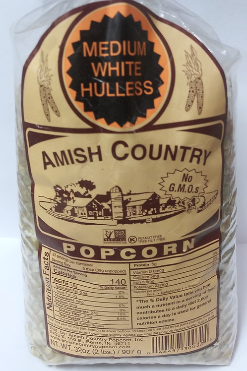 Amish Country Medium White Hulless Popcorn