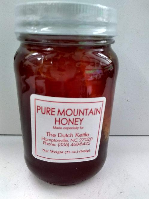 Pure Mountain Raw Honey, glass jar w/comb-32oz