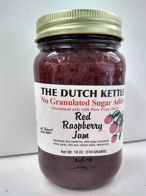 The Dutch Kettle Red Raspberry Jam, 18oz - No Sugar added