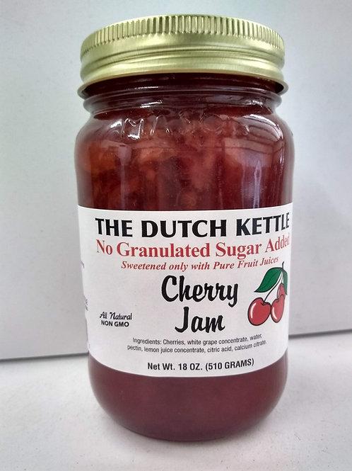 The Dutch Kettle Cherry Jam - No Sugar Added, 18oz