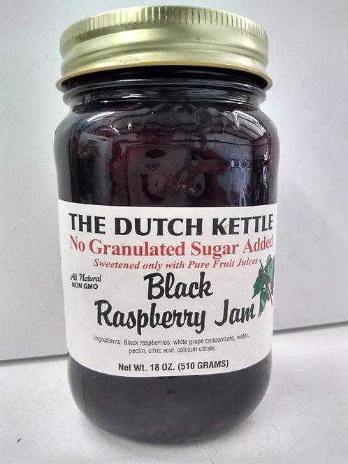 The Dutch Kettle Black Raspberry Jam, 18oz- No Sugar added