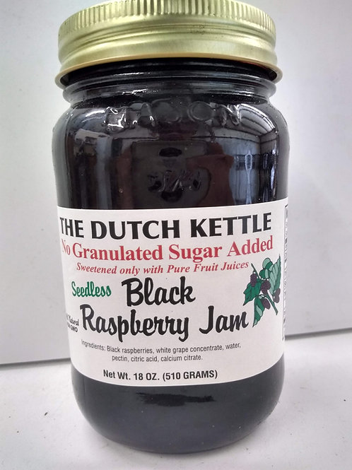 The Dutch Kettle Black Raspberry Jam, 18oz -Seedless, No Sugar added
