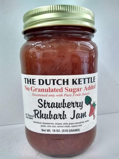 The Dutch Kettle Strawberry Rhubarb Jam, 18oz No Granulated sugar added