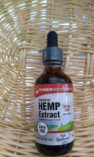 YoderNaturals Industrial Hemp Extract-500mg CBD Oil, 2oz
