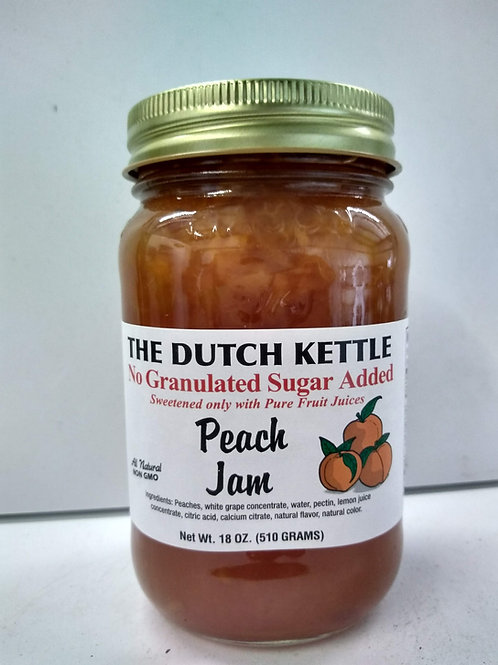The Dutch Kettle Peach Jam, 18oz - No Sugar Added