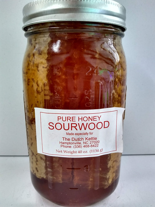 Sourwood Raw Honey w/4 comb, glass jar- 40oz