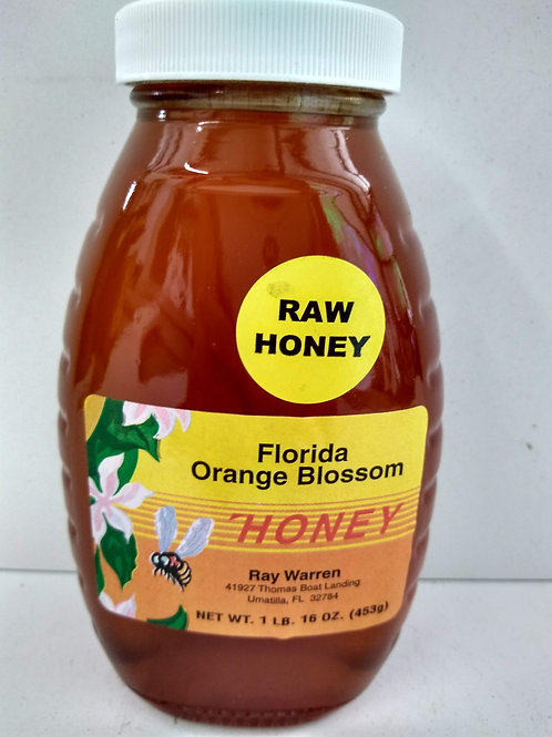 Orange Blossom Raw Honey, glass jar- 1lb