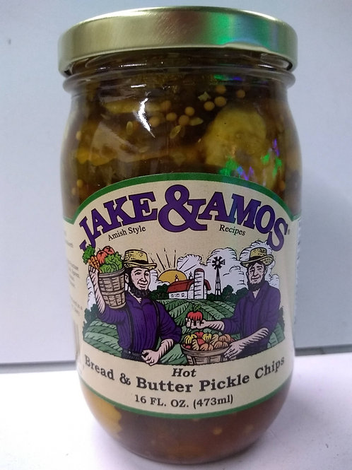 Jake & Amos Hot Bread and Butter Pickle Chips - 16oz