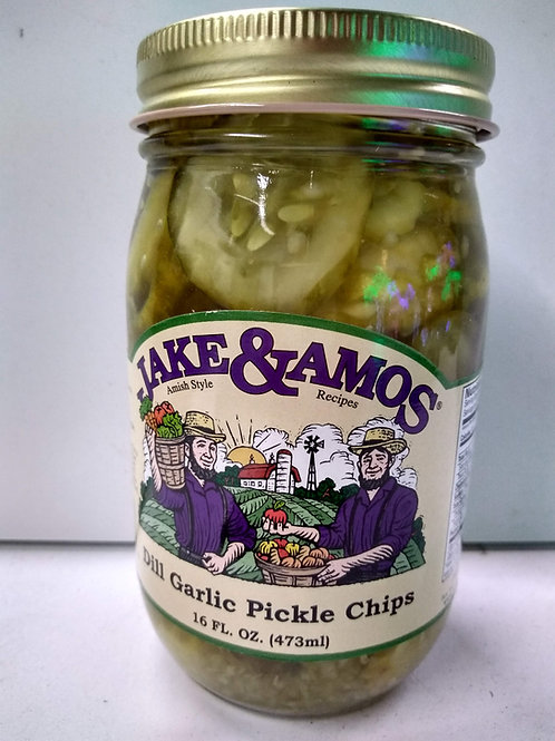 Jake & Amos Dill Garlic Pickle Chips - 16oz