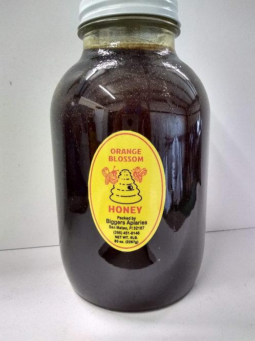 Orange Blossom Raw Honey, glass jar- 5lbs