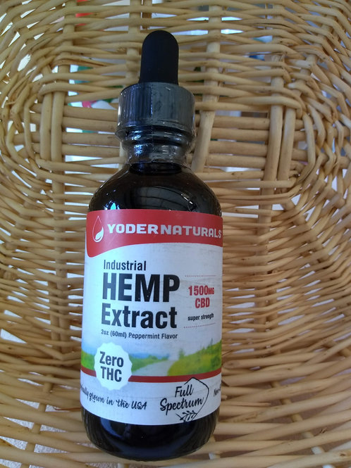 YoderNaturals Hemp Extract-1500mg CBD Oil, 2oz