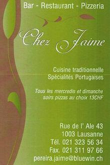 Bar-Restaurant-Pizzeria Chez Jaime Lausanne