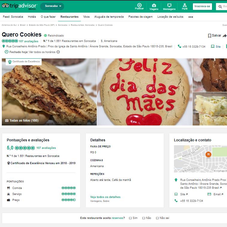 Quero Cookies no site TripAdivisor