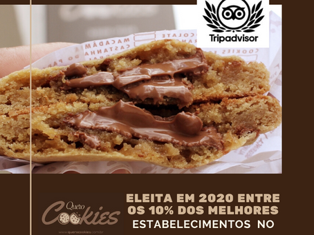 Quero Cookies,  Eleita Entre 10% dos Melhores Estabelecimentos do Mundo pelo Tripadvisor