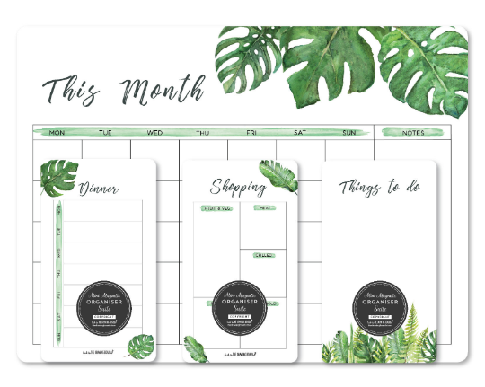 Magnetic fridge Calendar PACKAGE with 1 write and wipe kit/Whiteboard planner/La
