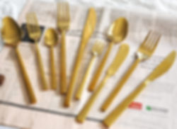 Luxury stainless steel matte gold cutler