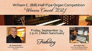 Join us Friday, September 24, 2021 at 7:00 PM in the Main Sanctuary of St. Mark Catholic Church to listen to the winners of the William C. Hall Pipe Organ Competition featuring Mr. Charles Douthit and Mr. Sungyun Kim. Admission is free.