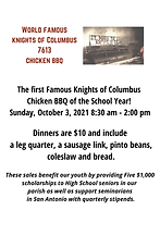 The St. Mark the Evangelist Knights of Columbus will be selling barbecue plates after Masses Sunday, October 3, 2021. Cost of each plate is $10.00. Proceeds go towards the Knights Annual Scholarship Fund.