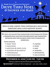Join us for caroling, a shower for Mary, and a live nativity Friday, December 11, 6:00 PM - 7:30 PM. We will be collecting donations for Guadalupe Home, a transitional home for pregnant and parenting women and babies who find themselves homeless. We will be collecting any new baby items.