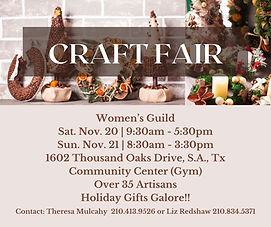 St. Mark Women's Guild will hold their annual craft fair November 20-21 in the Community Center Gymnasium. There will be over 35 artisans with holiday gifts galore.