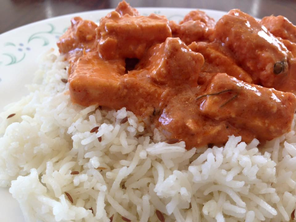 Rice served with paneer butter masala