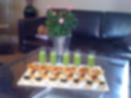 Canapes: Pea & mint shooters, Quail egg and black pudding, Spiced cheese sable, aubergine & chickpea filo tart