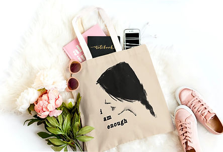 Tote bags with books, cell, school