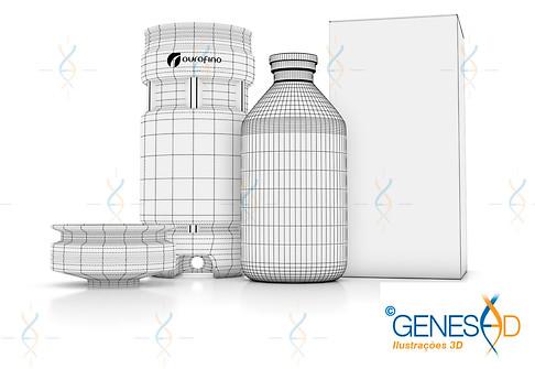 Evol Ourofino Saude Animal Wire GENESE3D Ilustração 3D