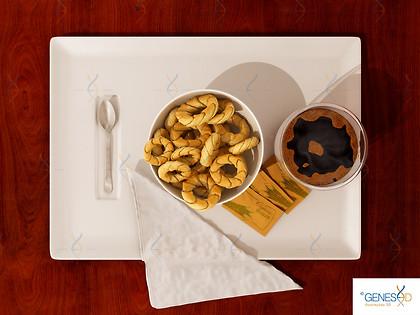 Coffee and Cookies Top view GENESE3D Ilustração 3D
