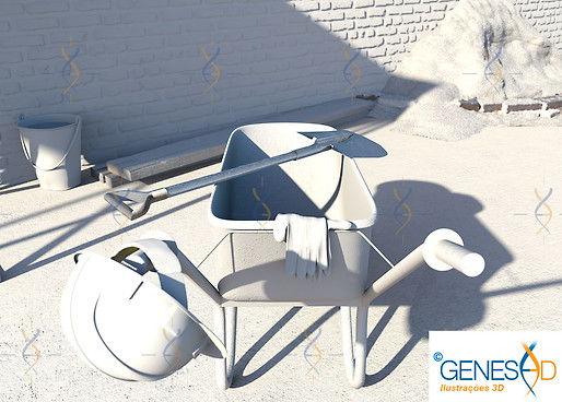Construction site - light pass / Genese3D Ilustrações 3D