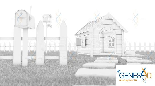 Dog house AO Pass GENESE3D Ilustração 3D