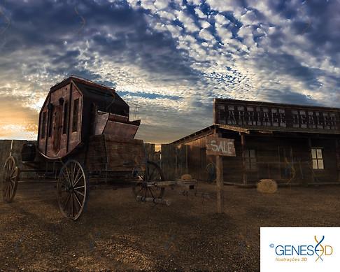 Old West Carriage Option 02 GENESE3D Ilustração 3D